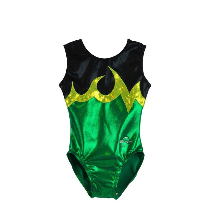 Tumble, jump and flip in style with this adorable Kids' Ace Green Gymnastics Leotard. All Obersee leotards are carefully designed for the young gymnast and feature soft material, scoop neckline, fun d