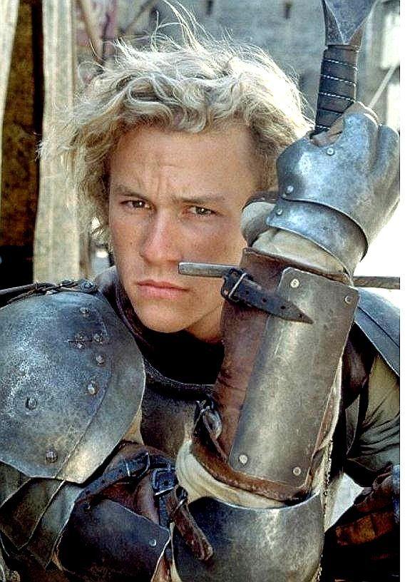 Heath Ledger in knight's armor. A terrific combination.