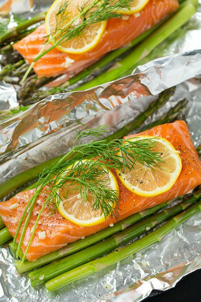 Baked Salmon and Asparagus in Foil: 15 Easy Foil Packet Meals Perfect for Campfire Cooking via Brit + Co