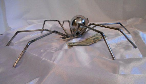 sculpture de métal soudé araignée, sculpture art métal spider