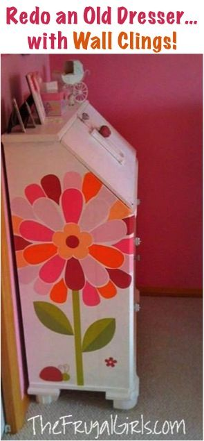 How to Redo Old Dressers... with Wall Clings! ~ at TheFrugalGirls.com #dresser #decor #thefrugalgirls