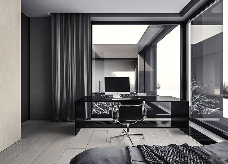 http://boomzer.com/a-solitary-or-family-home-interior-of-grey/black-desk-large-glass-window-white-wooden-floor-black-work-table-white-mac-led-monitors-grey-bedding/