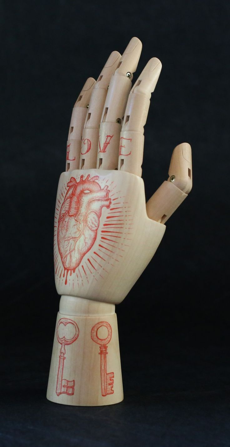 Inked hand - Red Heart