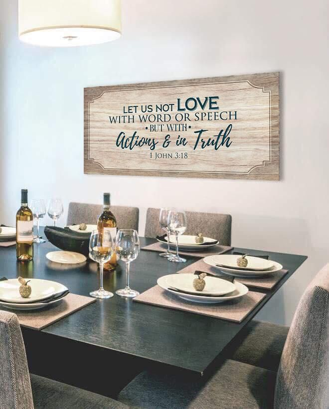 Christian Wall Art Let Us Not Love With Words And Speech Wood Frame Ready To Hang Dining Room Wall Decor Home Decor Dining Room Walls