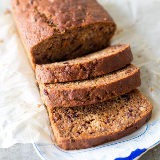 Date, carrot and cranberry loaf