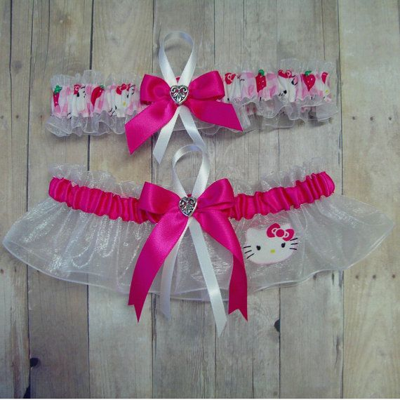Wedding Garter Set Handmade with Hello Kitty Fabric by avysm, $26.99