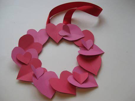 easy to make valentine's day crafts | Valentine Crafts for Kids - Heart Wreath