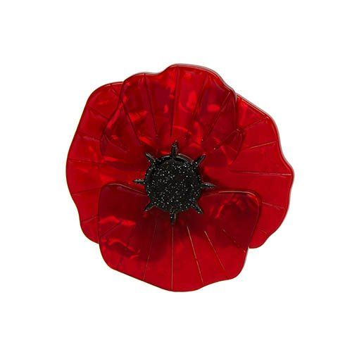 """The red poppy is back, updated with a glittery black center. Length 5 cm, width 5 cm. Hand assembled and hand painted, presented in an Erstwilder branded box as shown, with a cute teapot shaped tag. """"Gatherings in grand hotels. Forging friendships throughout. Finding rest in foreign lands."""""""