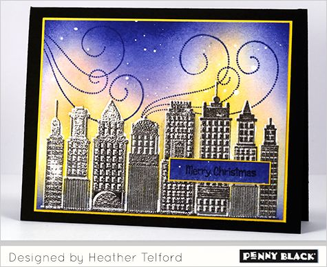 skyline, All is bright: PB, stamp skyline in versamark, move slightly stamp in gray, then emboss in clear, more on blog, winter. heather telford