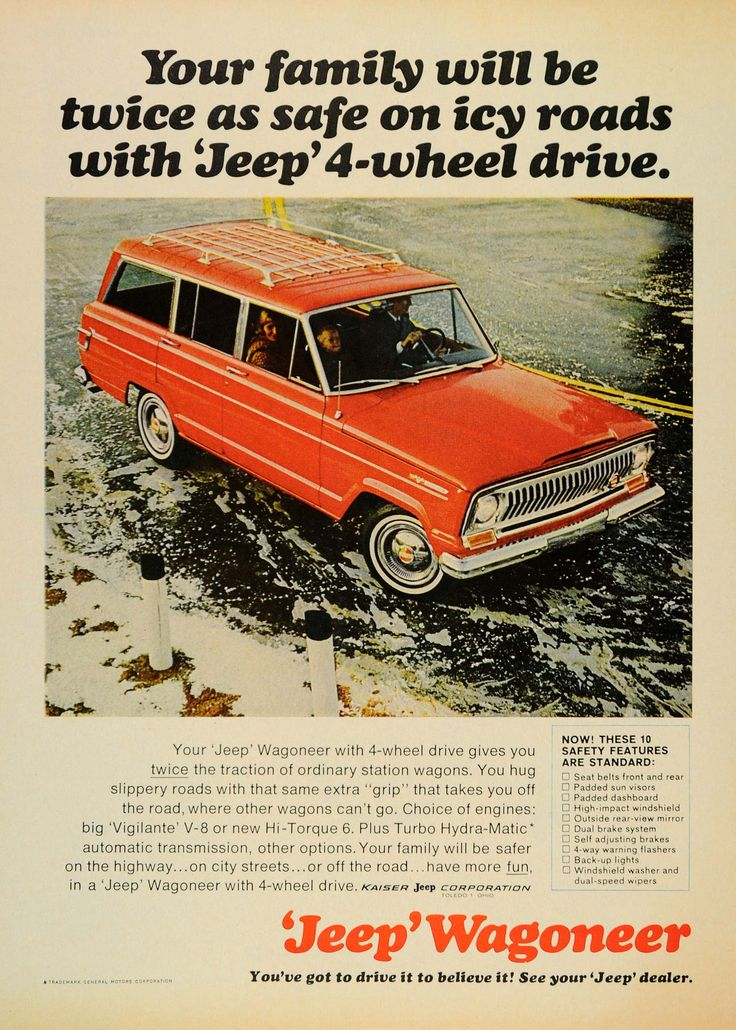 1966 Ad Kraiser Red Jeep Wagoneer Vintage 4-Wheel Drive - ORIGINAL CARS7