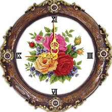 Joy sunday tres rosas artesanía reloj de pared de punto de cruz patrones de punto de cruz kit de bordado de punto de cruz costura fábrica venta(China (Mainland))