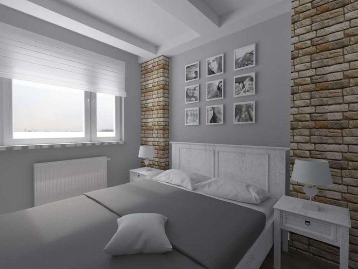 Sypialnia w odcieniach szarości - styl prowansalski.