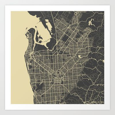 Adelaide map Art Print by Map Map Maps - $18.00---------------------------If you like my work, you can folllow my Facebook account : https://www.facebook.com/MapMapMaps