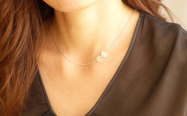 Personalized initial Mother's Necklace - Sideways Initial Necklace in Sterling Silver - Personalized Jewelry, Personalized Gift, Gifts. by AiryLoft on Etsy https://www.etsy.com/listing/198074780/personalized-initial-mothers-necklace