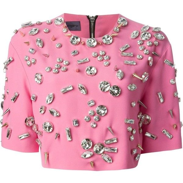 Emanuel Ungaro Embellished Cropped Top (€675) ❤ liked on Polyvore featuring tops, crop tops, shirts, crop, embellished shirt, pink shirt, shirt crop top, shirts & tops and pink crop top