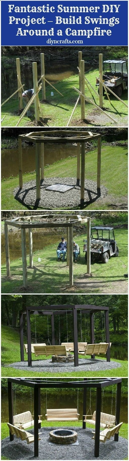 Fantastic Summer DIY Project  Build Swings Around a Campfire. --> I love this idea; wonder how itd look with maybe two single seats on one side, a love seat or triple bench on the second side, and making the last side suited for a hammock instead..