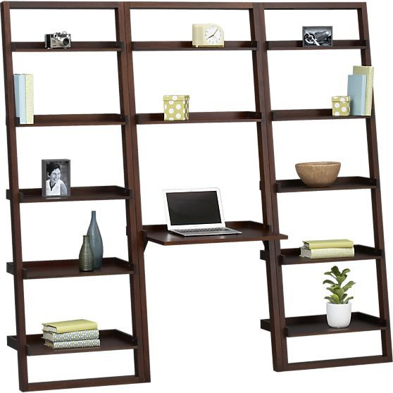 """Sloane Java Leaning Desk with Two 25.5"""" Bookcases in Desks 