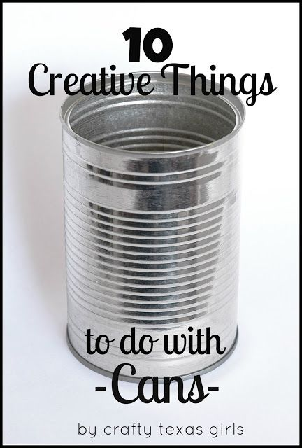 10 Creative Things to do with Cans - I've begun collecting cans furiously this year as last Christmas I saw... something... fun to do with them and was annoyed that I didn't have enough for my class to use - or enough time to collect them...     Now... if only I could remember what that fun thing was... maybe it's on this list! ;)
