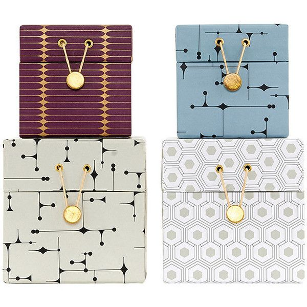 House Doctor The Artwork Storage Box - Set of 4 - Print (£57) ❤ liked on Polyvore featuring home, home decor, small item storage, multi, key storage box, gold home decor, gold box, key box and house doctor