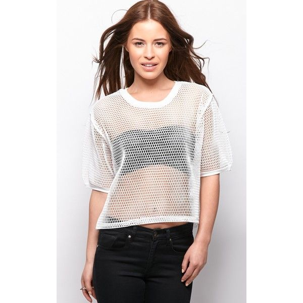 Nicola White Premium Fishnet Crop T-Shirt ($21) via Polyvore featuring tops, t-shirts, white, white tee, white fishnet top, white t shirt, summer tees and white tops