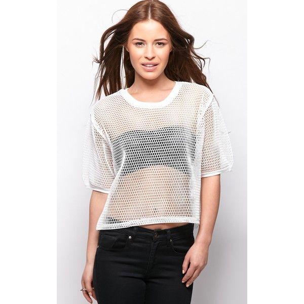 Nicola White Premium Fishnet Crop T-Shirt ($21) via Polyvore featuring tops, t-shirts, white, white tee, white fishnet top, white t shirt, summer tees and white tops