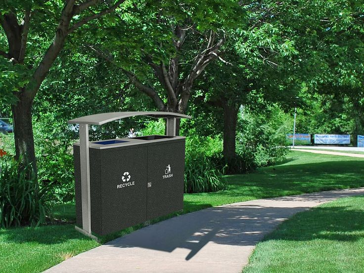 90 gallon large capacity trash and recycling receptacle for outdoors #Park #Recycle #TwoStream