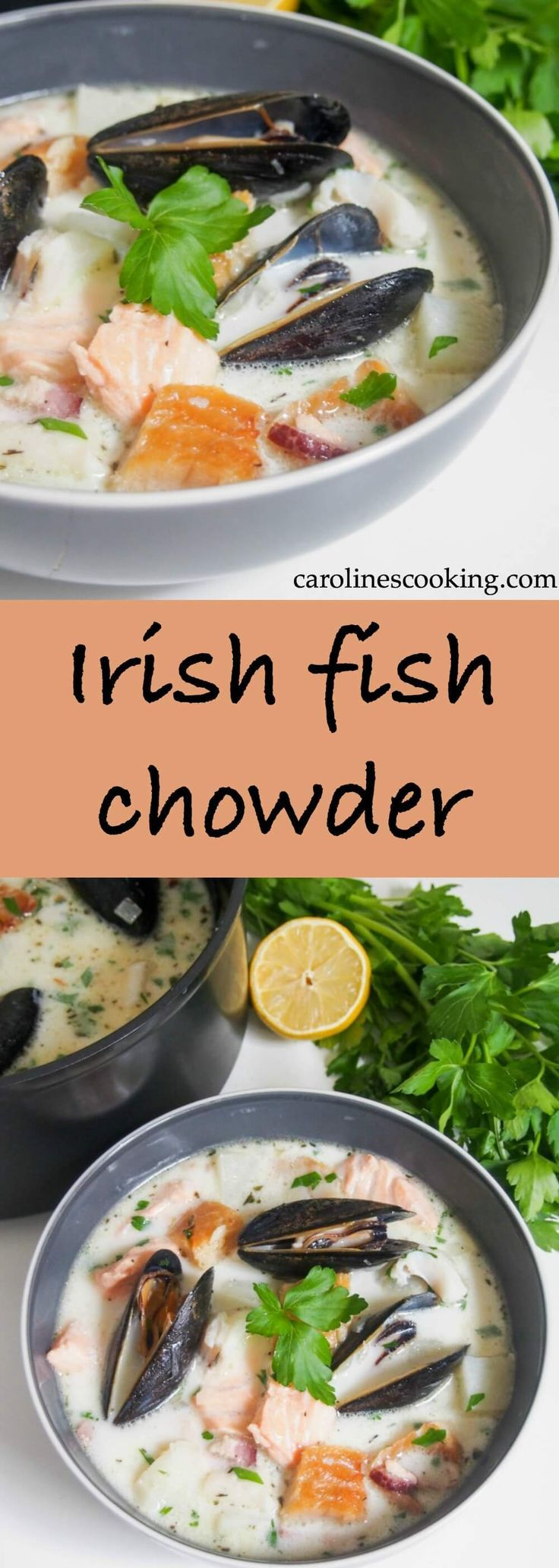 Irish fish chowder is a delicious mix of smoked and fresh fish in a light, gently creamy broth. Full of flavor, easy to make and perfect for lunch. #fish #chowder #soup