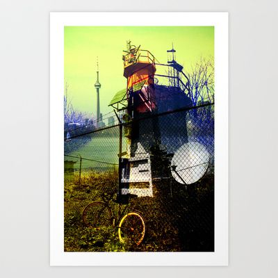 Tommy thompson park lighthouse in Toronto collage Art Print by Olga Hutsul - $28.08