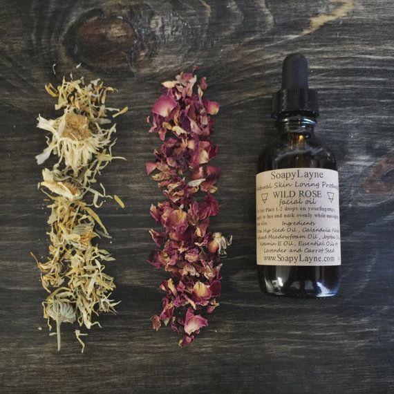 FACE OIL, wild rose facial serum, rosehip + calendula flower vegan oil, organic face moisturizer