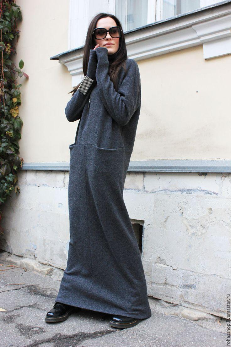 Купить или заказать Длинное платье May Be в интернет-магазине на Ярмарке Мастеров. Теплое и уютно платье из шерстяного , плотного трикотажа, цвета серый меланж. Платье макси в пол с длинными рукавами, воротником стойкой, и двумя кармашками. Теплая и стильная вещь для холодного времени года. Платье по желанию можно сделать с коротким рукавом Можно носить с грубой обувью, а так же с каблуками. Здорово смотрится с короткой дубленкой и кожаной курткой, проверено;) Шапочку можно приобрести у…