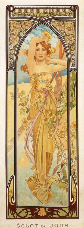 Day by Alphonse Mucha #art #nouveau #flowers #plants #female