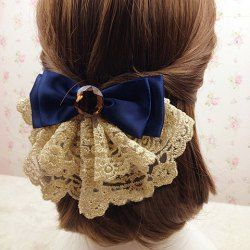 $3.67 Graceful Bowknot and Rhinestone Embellished Lace Jacquard Hair Clip For Women