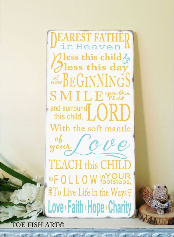 Irish Blessing   Baptism Christening Gift  Typography Word Art Vintage Style Beautiful Nursery or Playroom Wooden Sign