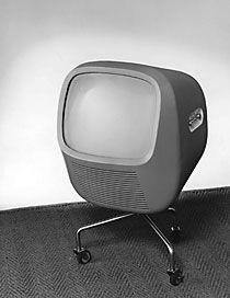 Hans Gugelot, Helmut Müller-Kühn, prototype for Rollable TV set, 1956  Made for Telefunken, Germany. Via hansgugelot.com