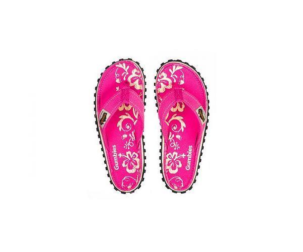 Gumbies Teenslippers flip flop Pink Hibiscus