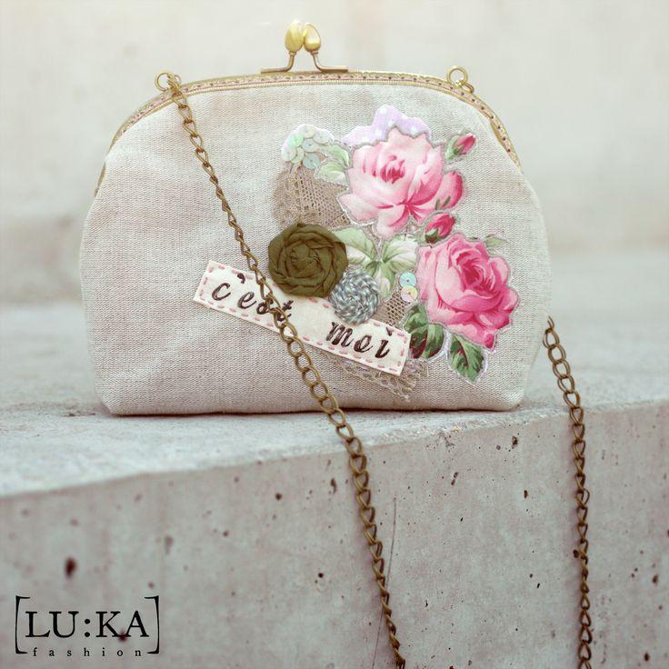 Linen handbag with apliqué, hanmade flowers, lace, sequins and lettering (one of a kind) 18cm x 22cm x 6cm, chain - 95cm 37€+PP info@lukamoda.com  photo: Juraj Molcak - www.molcak.com PostPro: LU:KA