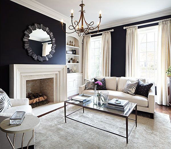 Laura Hay Decor Design - living rooms - black walls, black wall color, hardwood floors, oatmeal colored rug, gold chandelier, ivory sofa, co...