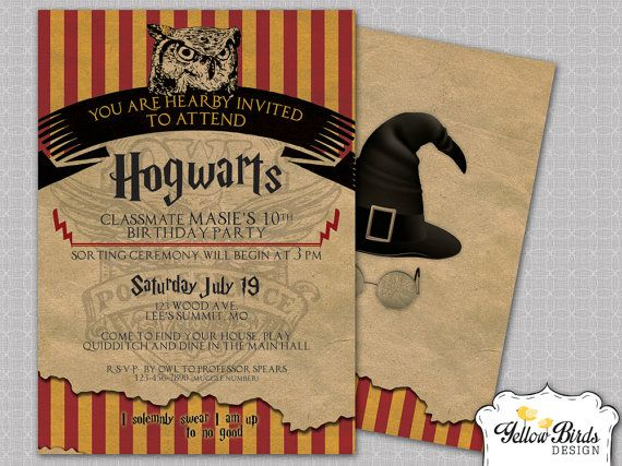 49 best Harry Potter Party images – Harry Potter Birthday Invitation