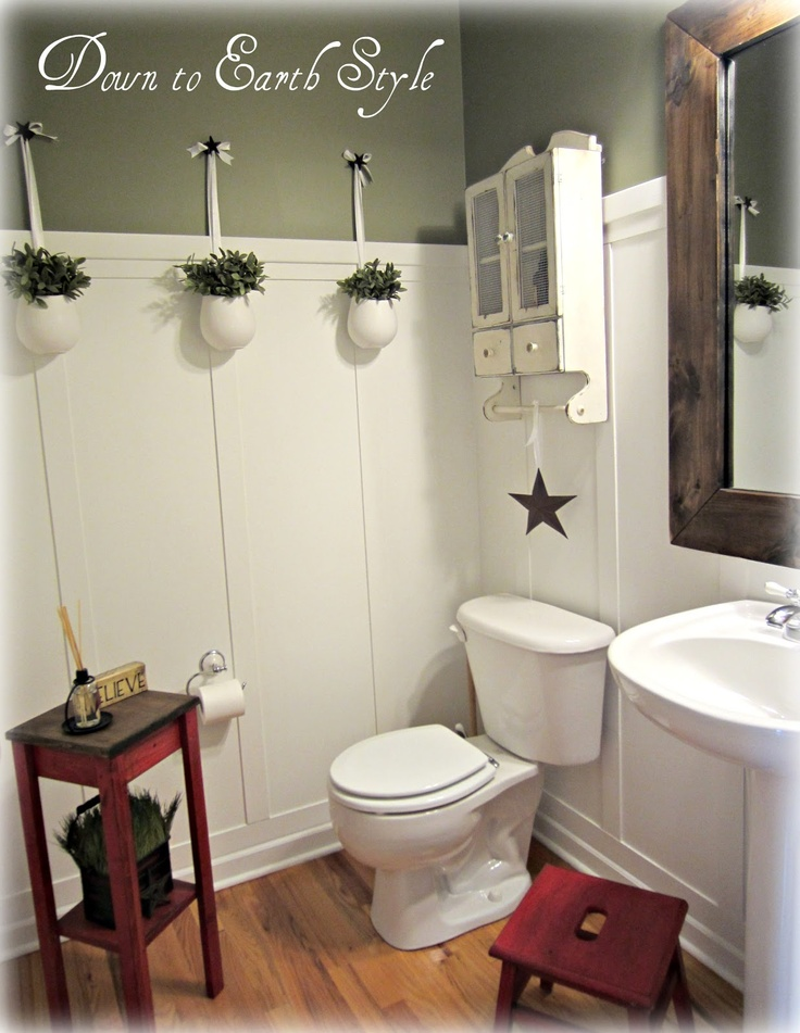 Love this for the upstairs bathroom. Wainscoting really breakup the tall walls, and taking out the big cabinet and just having a sink really opens it up. Think I found the solution I was looking for.. Obviously man this up a little ha!