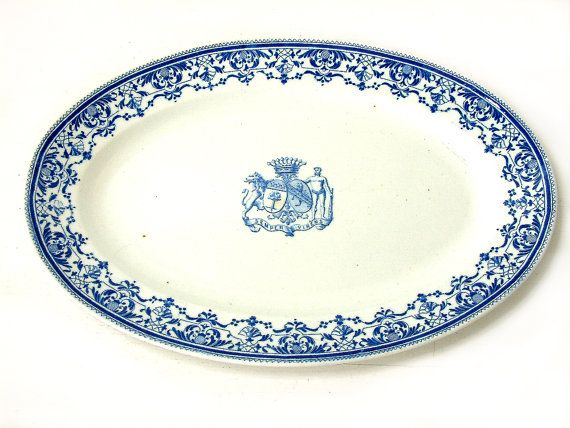 Rare antique french blue transferware ironstone serving platter by GIEN. Noble family heraldry with 9 ball crown of a french count.