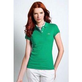 Women Polo Shirt Short Sleeve, Green Color