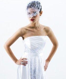 ráncolt szatén menyasszonyi ruha