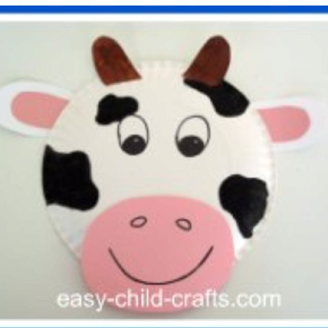 Cow craft    http://www.easy-child-crafts.com/animal-paper-plate-masks.html