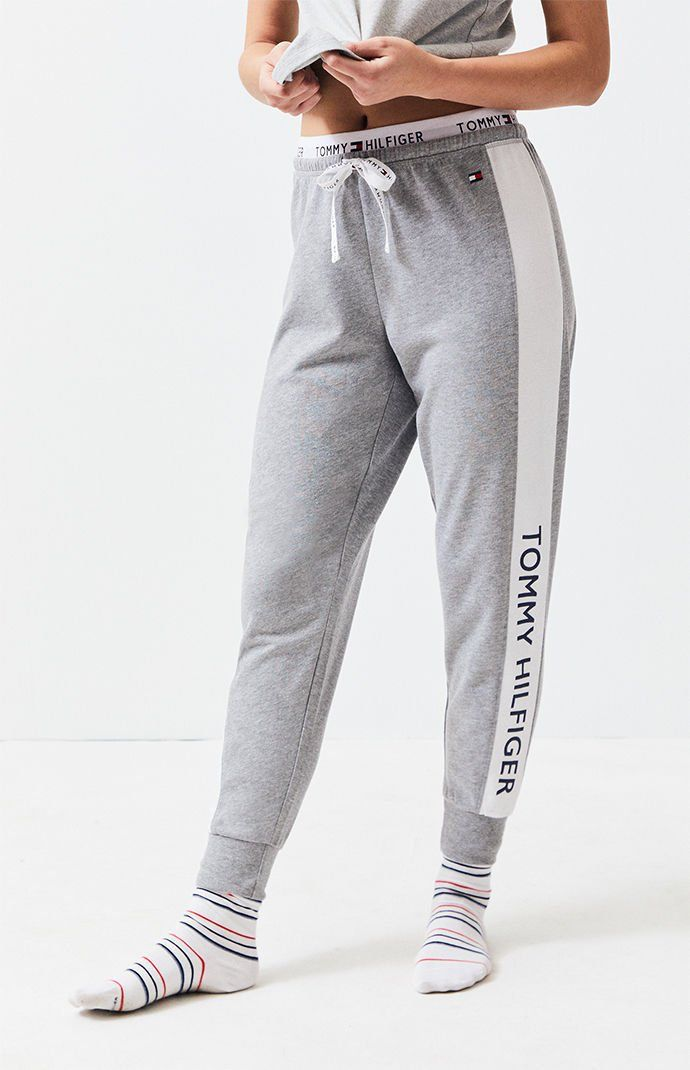 Pacsun Tommy Hilfiger Heather Grey Colorblock Jogger Pants Tommy Hilfiger Tommy Hilfiger Outfit Pants For Women