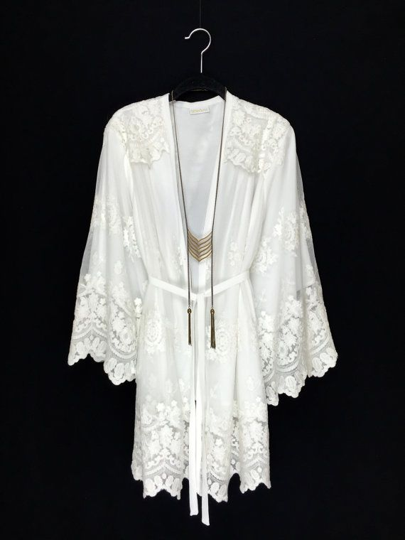 Off white/ ivory Lace Kimono jacket short lined robe by Bibiluxe