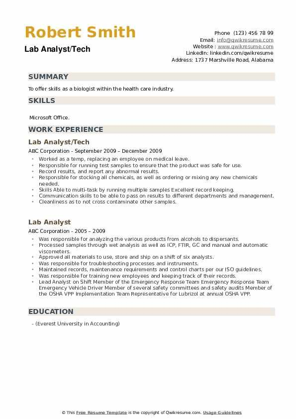 Lab Analyst Resume Samples Analyst Sample Resume Templates Work Experience