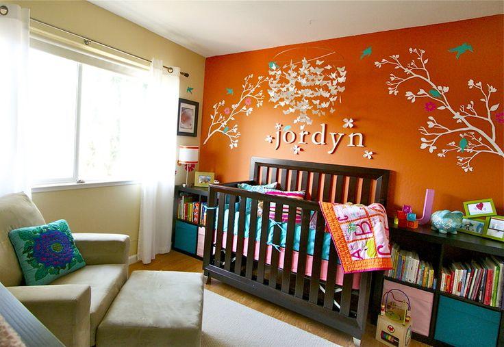 I love orange too!Boys Nurseries Colors Orange, Blue Wall, Orange Colors Room, Kids Room,  Cot, Baby Room, Girls Nurseries, Bright Colors, Accent Wall