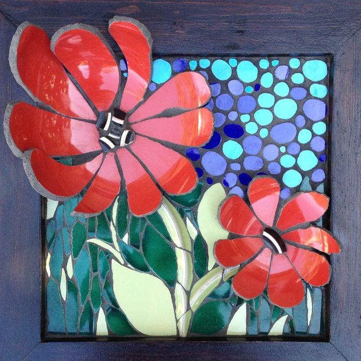 by Nikki Inc Mosaics: 3 Dimensions Mosaics, Mosaics Art, Mosaics 1, 3D Flower, Vitro Mosaico, Mosaics Flower, Art Ceramics, Plates 3D, Bowls