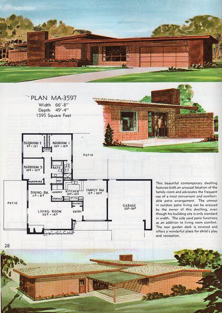 Les 331 meilleures images à propos de Mid-Century Modern sur - dessiner plan de maison