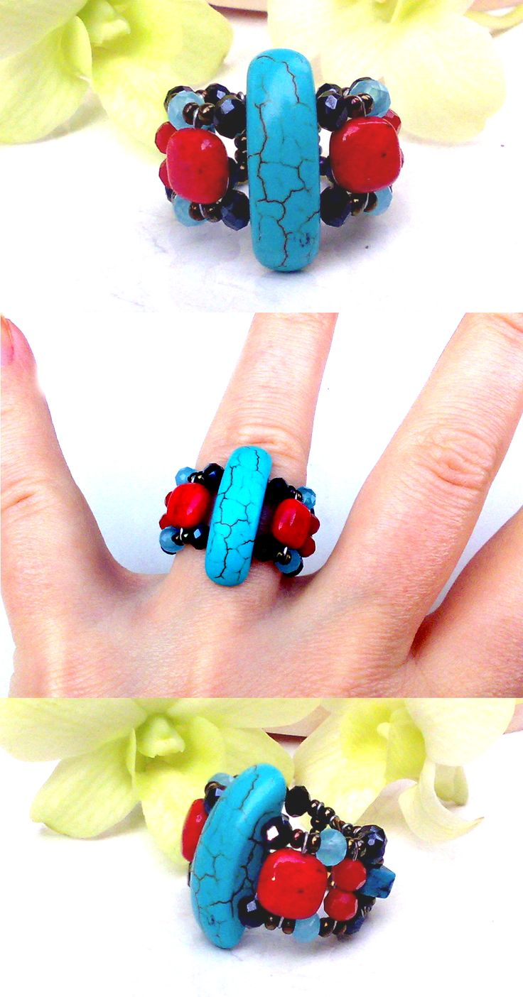 """Lancelot  Turquoise"" Turquoise ring with Turquoise, Red Dyed Marble, Swarovski Crystals, Czech Crystal. www.musesa.com"